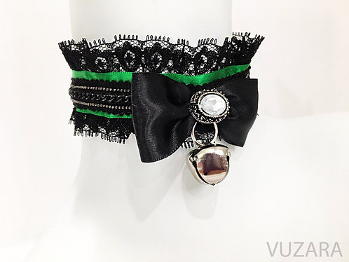 Green & Black Lace Choker Collar with Bell