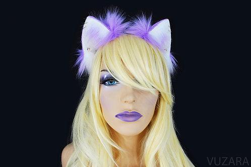 Purple & White Fox Ears / Cat Ears- Poseable