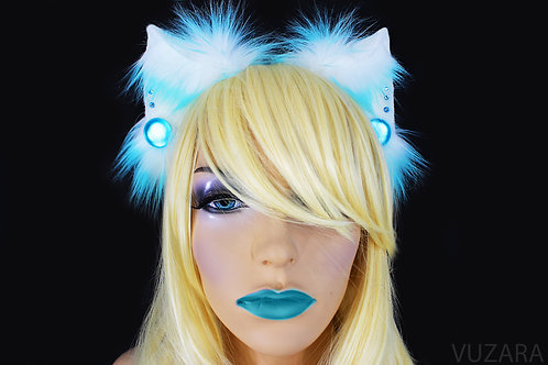Teal & White Fox Ears / Cat Ears- Poseable