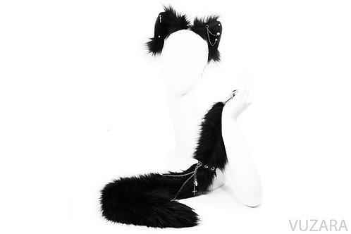 Punk Black Cat Tail & Ears Set