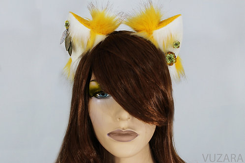 Yellow & White Fox Ears / Cat Ears- Poseable
