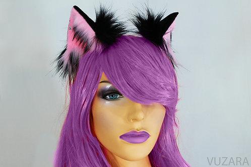 Pink & Black Fox Ears / Cat Ears- Poseable