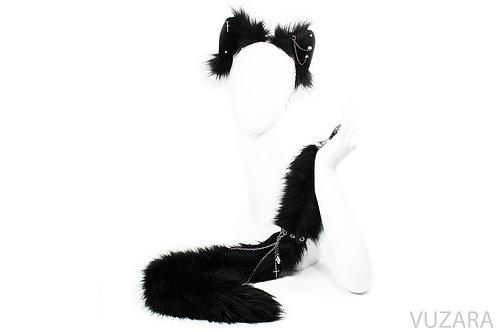 Punk Black Cat Tug Tail & Ears Set