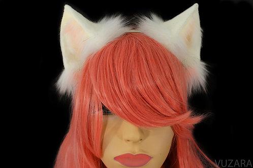 White & Pink Fox Ears / Cat Ears- Poseable