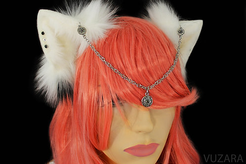White & Black Fox Ears / Cat Ears- Poseable