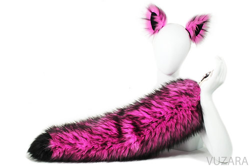 """28"""" Faux Fluffies Pink/Black Fox Tug Tail"""