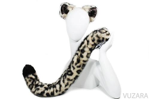 """30"""" Snow Leopard Tail & Ears Set"""
