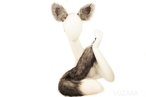 "28"" Faux Grey Fox Tail Tug Tail"