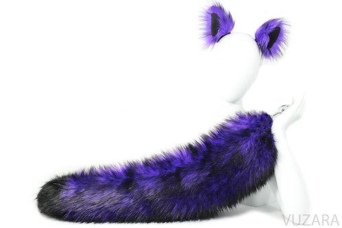 """28"""" Faux Fluffies Purple/Black Fox Tail & Ears"""