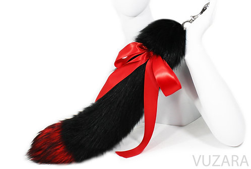 "20"" Faux Red/Black Ribbon Tug Tail"