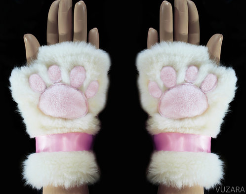 Open Finger Hand Paws - White/Pink