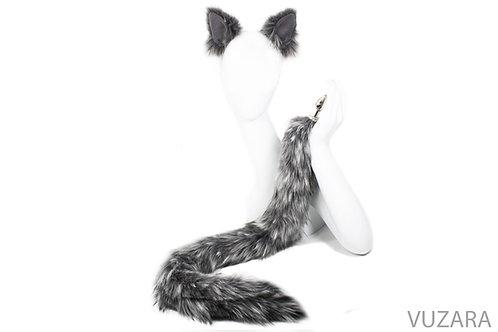 "30"" Mixed Grey Cat Tail & Ears Set"