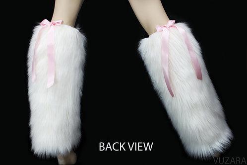 Fuzzy Leg Warmers - White/Pink