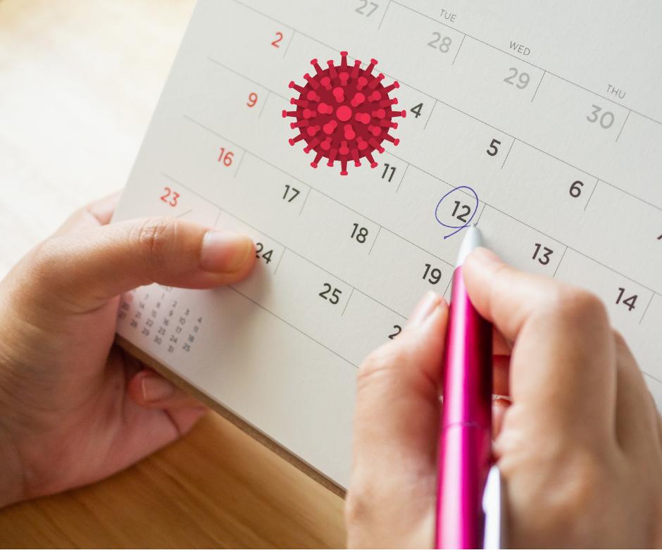 Calendar depicting menstrual cycle and Covid-19 symbol