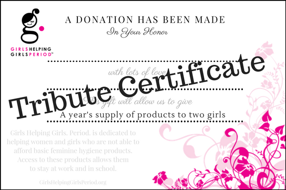 example of a tribute certificate that can be given in someone's honor when a donation is made