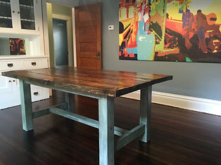 This Is One Of Our Country Style Tables, 6u0027 Long With A Teal Painted And  Glazed Base. The Top Is A Satin Lacquer Finish On Dark Walnut Stain.
