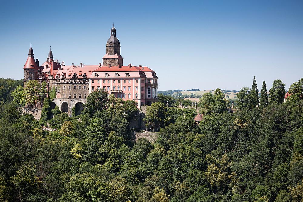 widok na zamek książ otoczony lasem