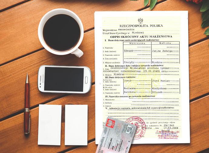 formalności po ślubie - dokumenty