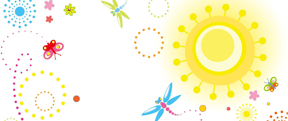 自然の気に満たされた太陽と花と虫たち