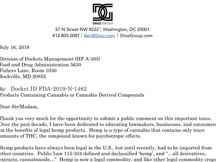 Hemp CBD Comment Submitted to FDA
