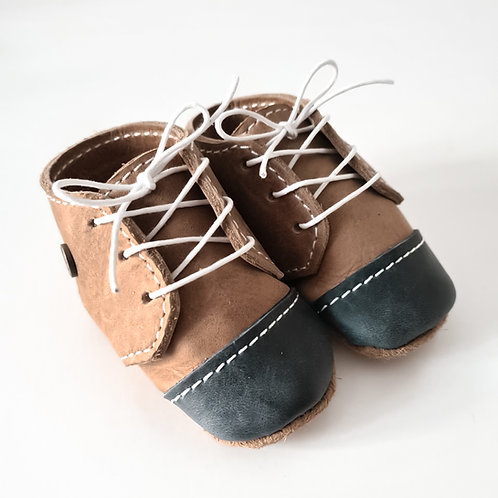 Navy & Tan Leather Baby Shoes - Boys