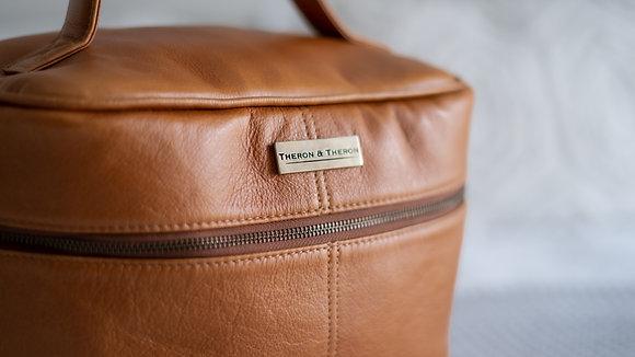 Leather Vanity Travel Bag Tan