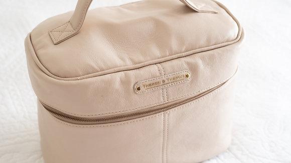 Leather Vanity Travel Bag Latte