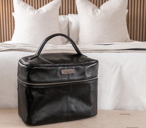 Leather Vanity Travel Bag Black