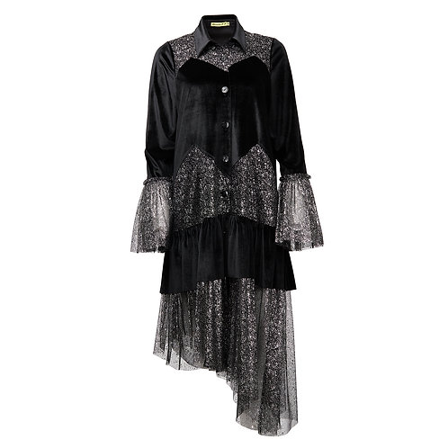 ASSYMETRICAL VELVET AND LACE DRESS