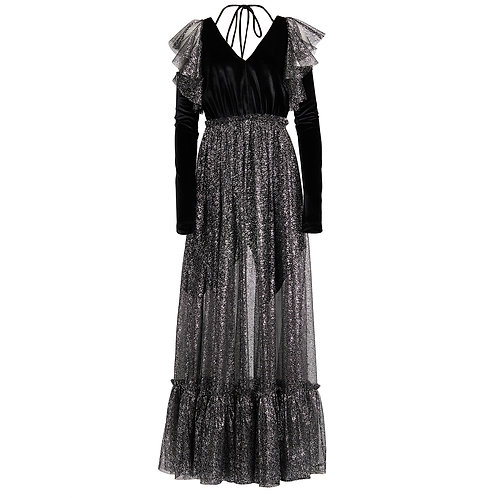 LONG SLEEVES VELVET AND LACE DRESS
