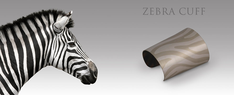 custom made zebra cuff bangle, hand made jewellery from Perth Australia. White gold and Palladium