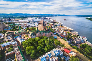 Overhead view of Montreal Quebec and the St. Lawrence River. Plan My Trip to Quebec, Canada
