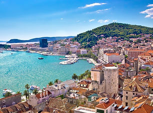 The peninnsula of Split, Croatia reaches out into the Adriatic. View of the buildings and architecture in old town Split