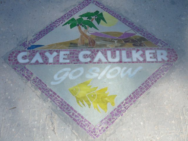 """The """"go slow"""" mosaic welcomes you as you step off the water taxi, Caye Caulker, Belize"""