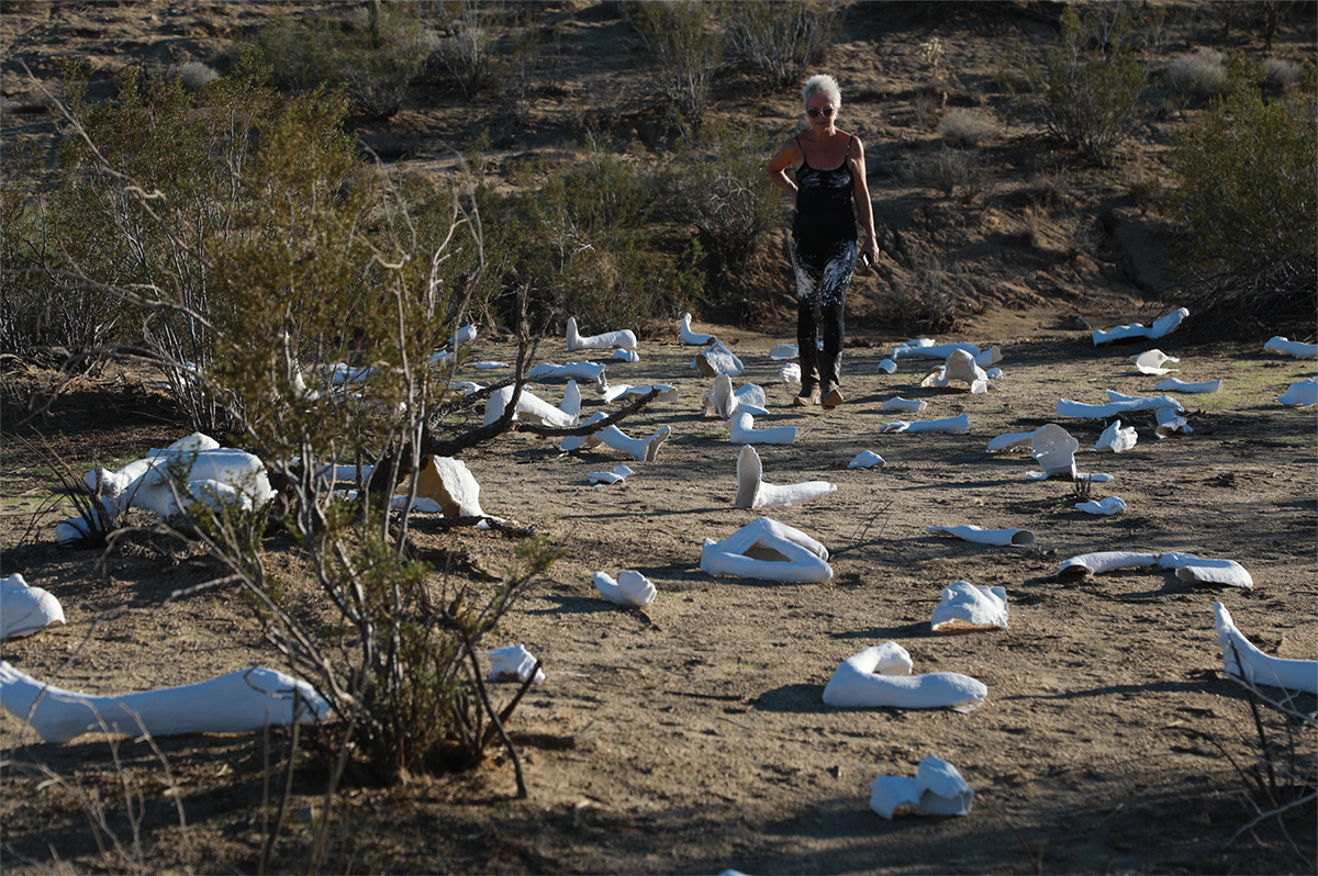 THE MANDALA PROJECT DESERT: Collateral Damage 2018- A Collective Mediation on Humanity  In response to the staggering numbers worldwide of the lost and unidentified human beings, risking everything for a better life.   Location: Joshua Tree National Park, California US  Artist walking through installation.  ©Lilli Muller. All Rights Reserved.  Photo by Eric Minh Swenson.