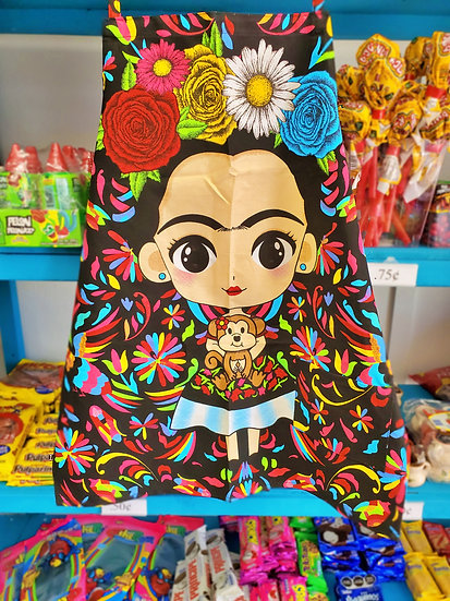 Frida Black Apron With Flowers