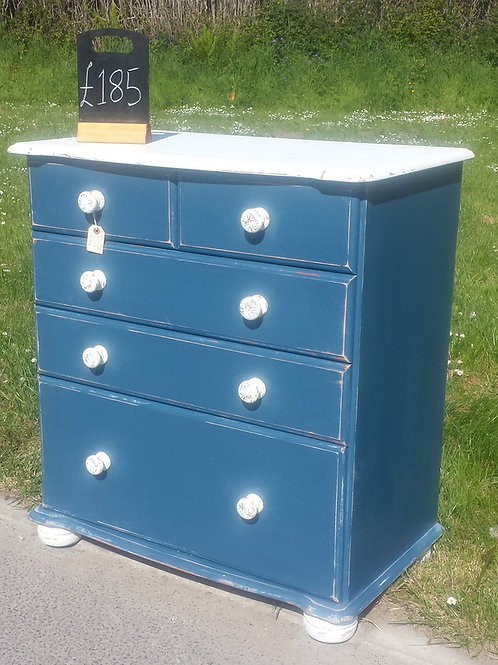 Blue Five Drawer Chest of Drawers