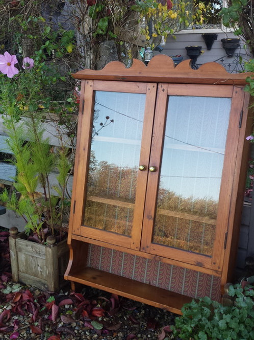 Old Pine Glass Fronted Cabinet