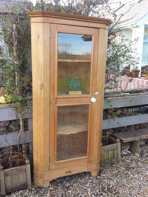 Pine glass fronted corner unit