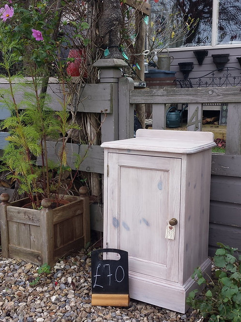 Pine White Washed Pot Cupboard