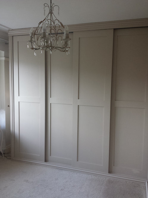 Painted oak, fitted wardrobes.