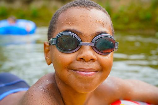 Cute African child boy close up portrait