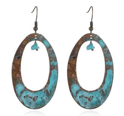 Patina Turquoise Hoop Earrings