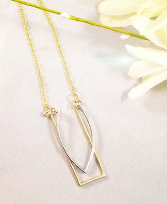 Mixed Silver and Golden Abstract Necklace