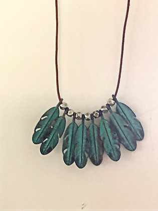 Patina Feather Necklace