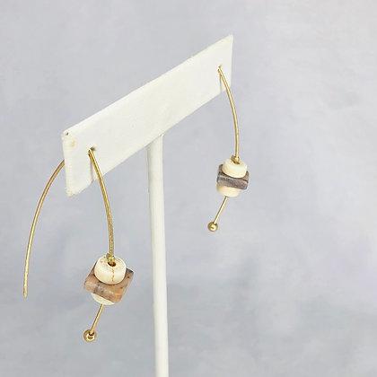 Gold Wood  Earrings