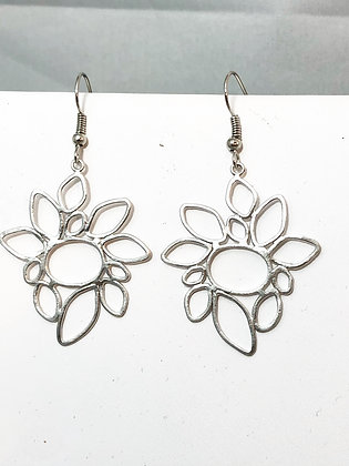 Etched Open Flowers Earrings