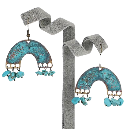 Patina Turquoise Arc Earrings