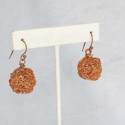 Copper Wire Spheres Earrings