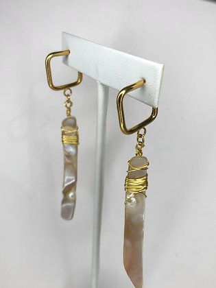 Gold Wrapped Abalone Earrings
